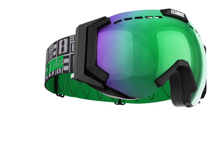 Carver XT  - Carver XT Goggles - Black with green multi lins